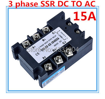 Three phase solid state relay DC to AC SSR-3P-15 DA 15A SSR relay input DC 3-32V output AC480V 47874